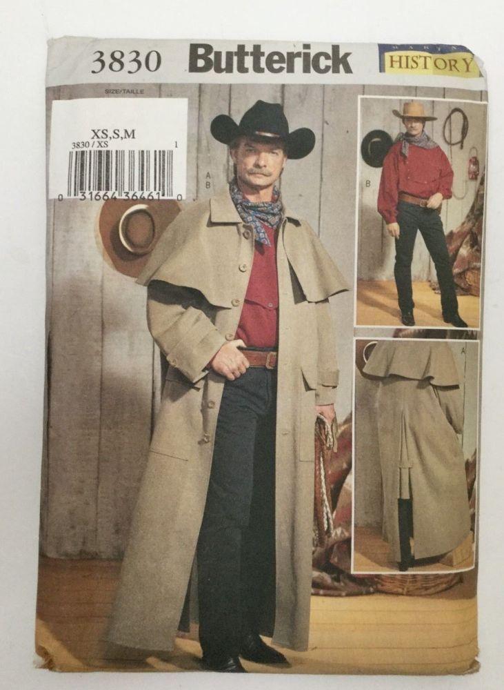 Butterick 3830 Making History Western Cowboy Duster Coat Shirt Mens Xs M Uncut Butterick Costume Sewing Patterns Mens Historical Costumes Shirt Sewing Pattern