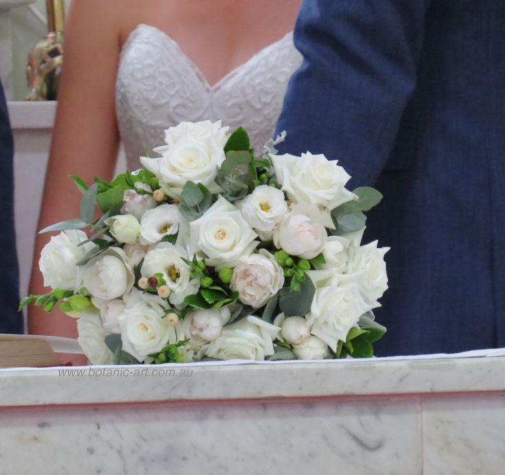 #bride bouquet #elegant #classic #roses #white #pretty #white #davidaustin roses #bluegum #handtied