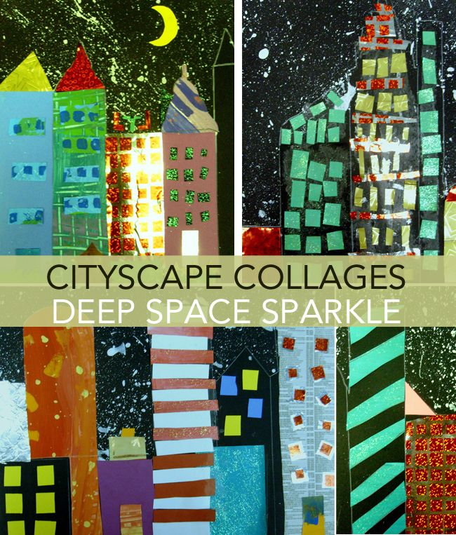 Cityscape collages. There is nothing more fun than setting a huge box of fancy papers on a table and watching kids create. This is what I did when creating this collage.
