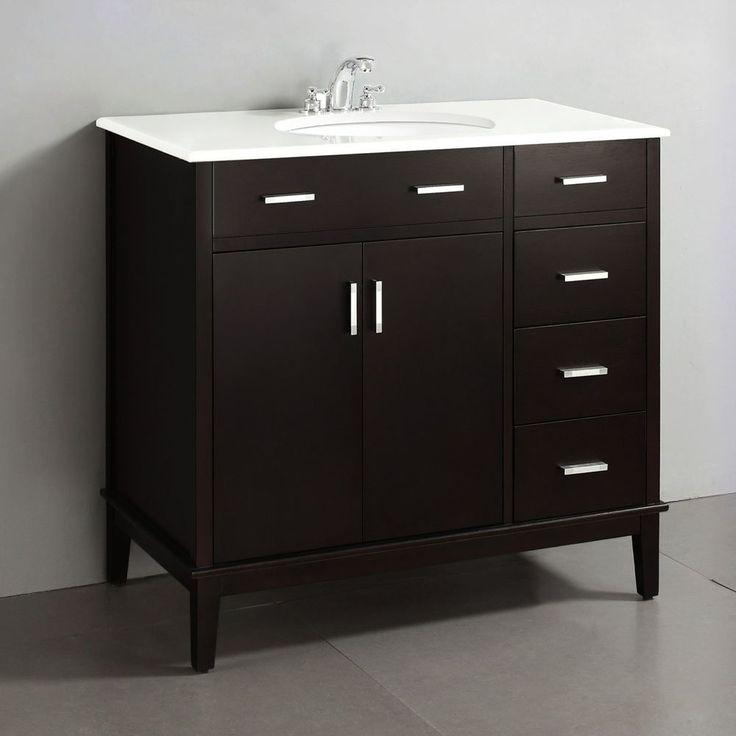 simpli home 36 in urban loft bath vanity with quartz on lowes vanity id=53521