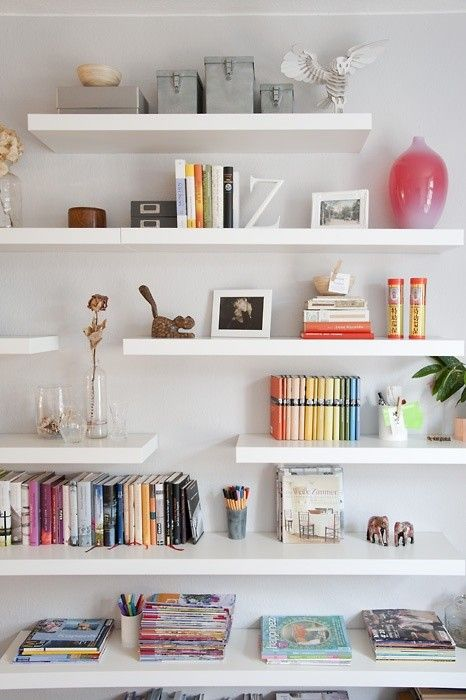 staggered floating shelves