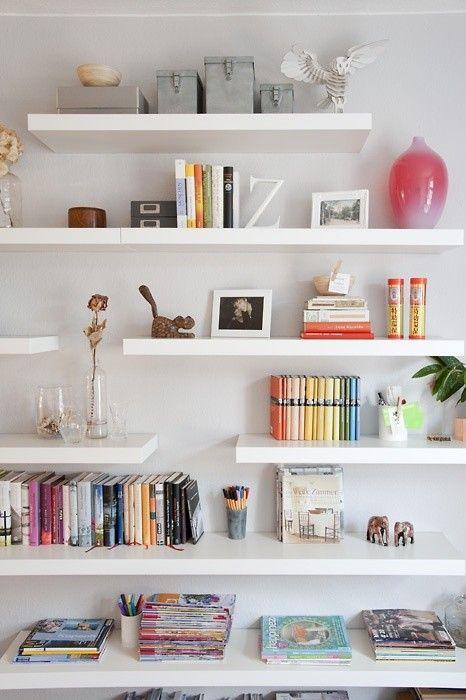 staggered floating shelves