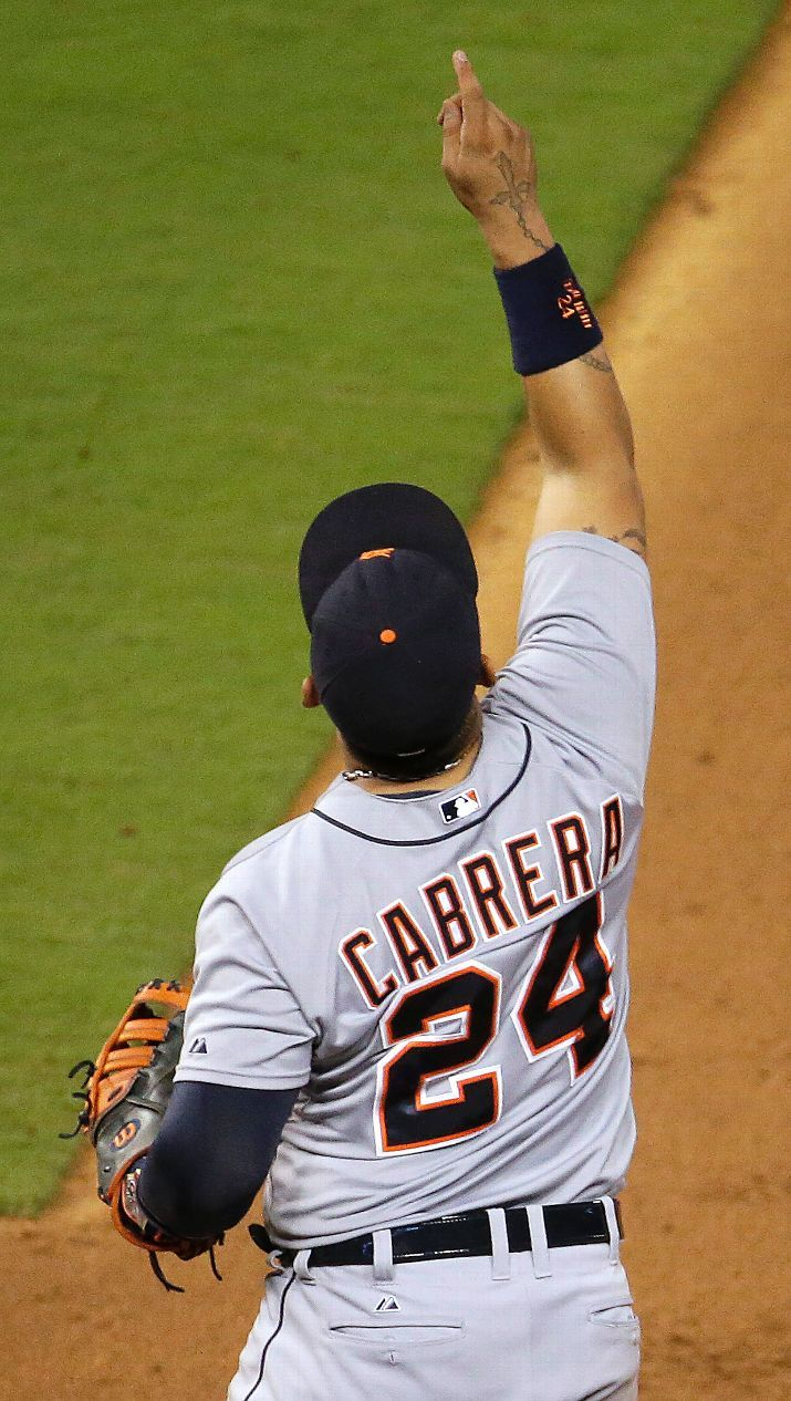 Miguel Cabrera celebrates after the Tigers' baseball game, 07/11/2014