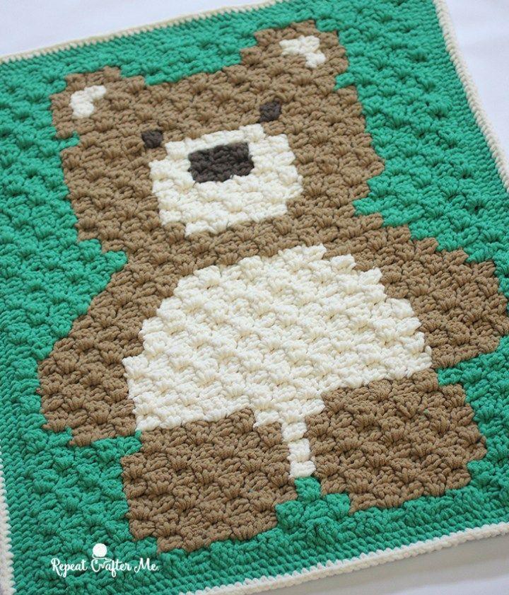 Crochet C2c Bernat Blanket Bear Crochet Pinterest