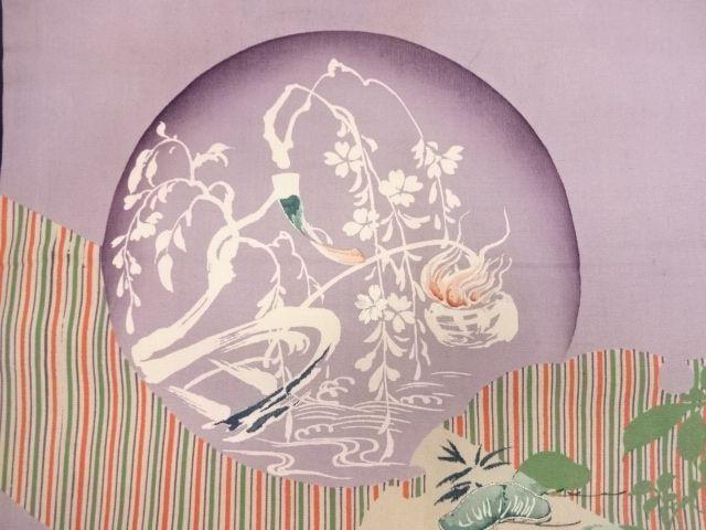 アンティーク 枝垂れ桜に短冊・雪輪・庭園模様刺繍昼夜帯:リサイクル・アンティーク着物のシンエイ