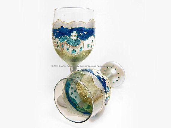 Wine Glasses / Two Panoramic Hand Painted Rhinestone Santorini Mediterranean Wine Glasses Wedding Gift Present