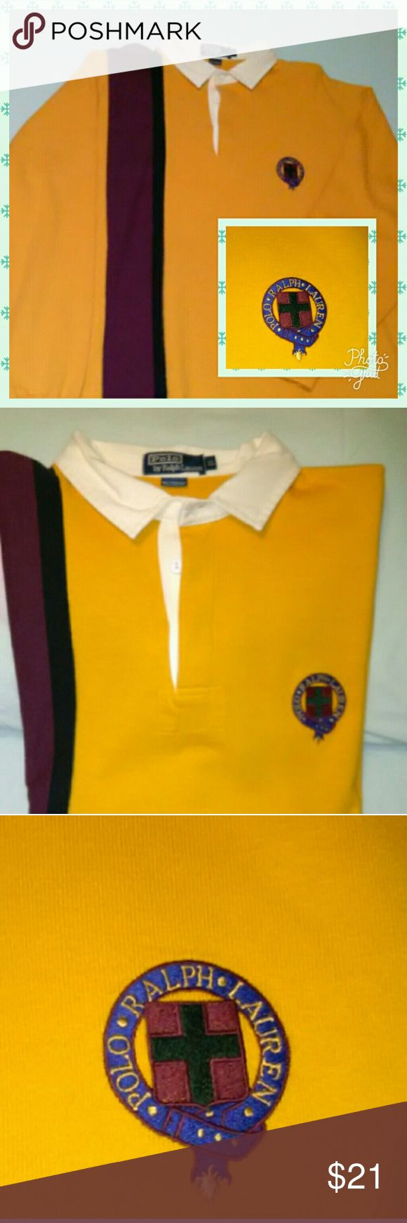 Polo by Ralph Lauren Rugby 🏉 Shirt - Men's XL Men's Rugby Shirt:   √ Polo Ralph Lauren.   √ Size Extra Large (XL).   √ 100% Cotton.   √ Yellow Gold with        Black/Maroon/White Trim.   √ Embroided PRL Emblem    √ Like New - Only worn few times    √ No noticable flaws or defects. Polo by Ralph Lauren Shirts Polos