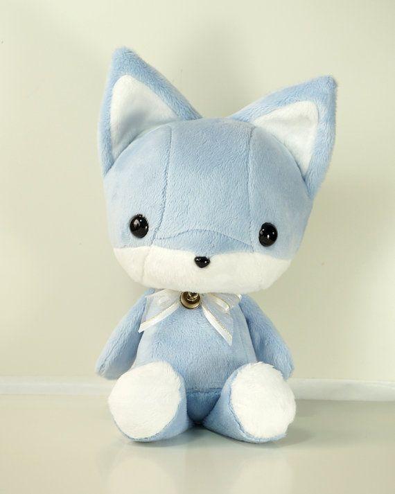 Cute Bellzi Blue w/ White Contrast Fox Plushie Doll 11 inch - Foxxi on Etsy, $40.00