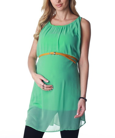 Take a look at this Mint Green Chiffon Maternity Belted Tunic by PinkBlush Maternity on #zulily today!