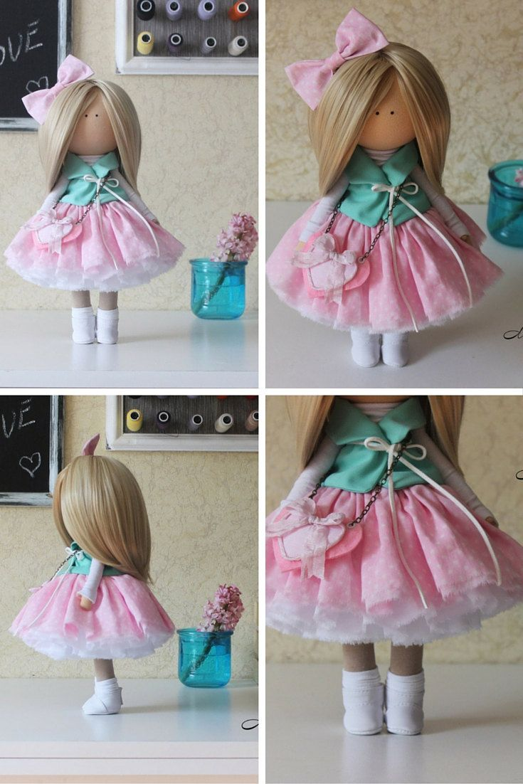 Beauty doll Handmade blonde pink colors by AnnKirillartPlace