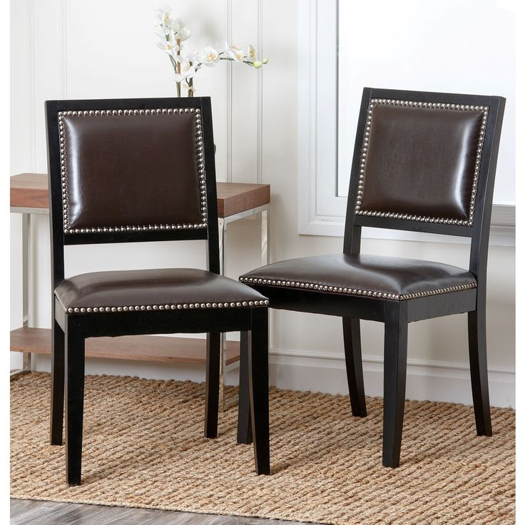 brown leather dining room chairs set of 2 modern furniture kitchen bar seat - Leather Dining Room Furniture