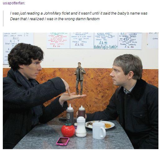 (gif) Wrong Damn Fandom ||| Superlock ||| Supernatural + Sherlock --- XD