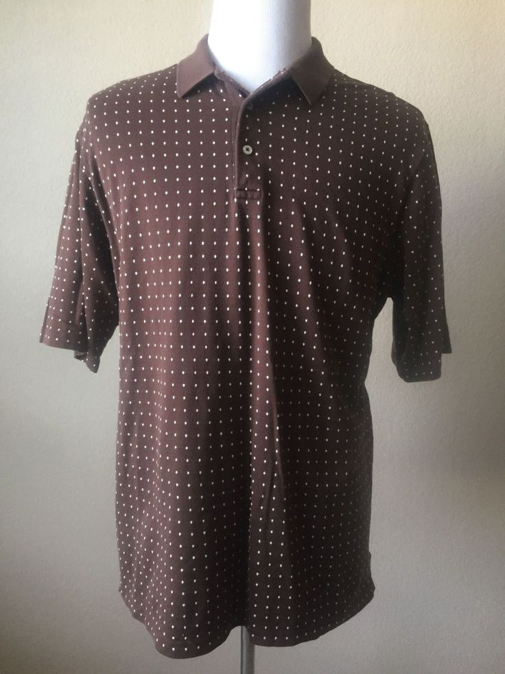 Polo Golf Ralph Lauren Mens Large Brown Polka Dots Short Sleeves Pima Cotton EUC #RalphLaurenGolf #PoloRugby