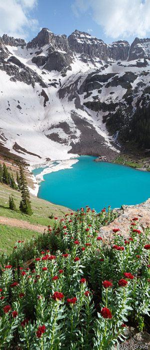 Blue Lake, Dallas Peak, Sneffels Range, San Juan Mountains, Colorado, panorama