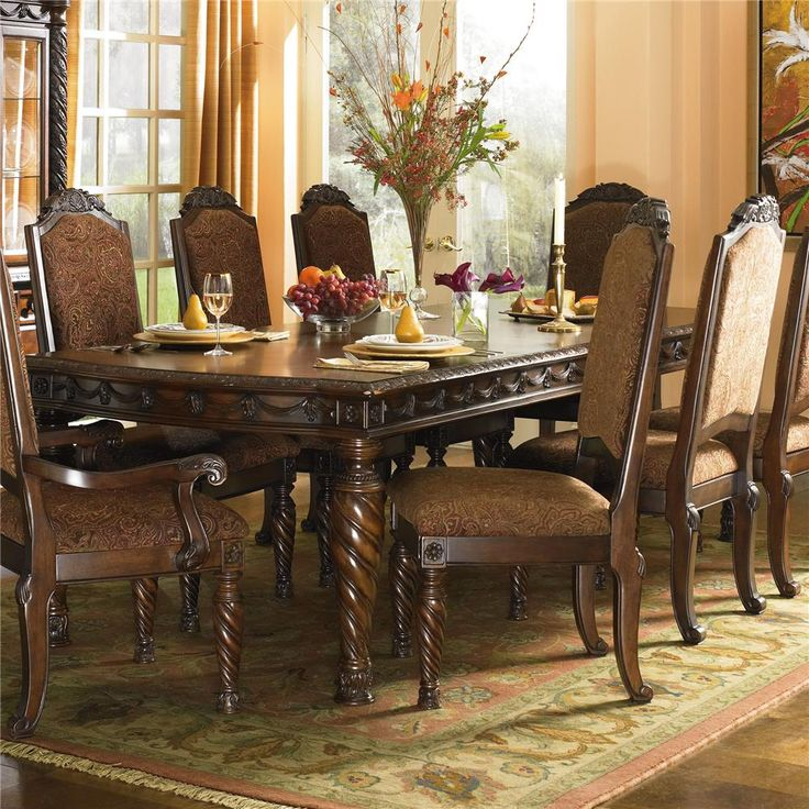 North Shore Rectangular Extension Table And Dining Arm Chairs Side Set By Millennium