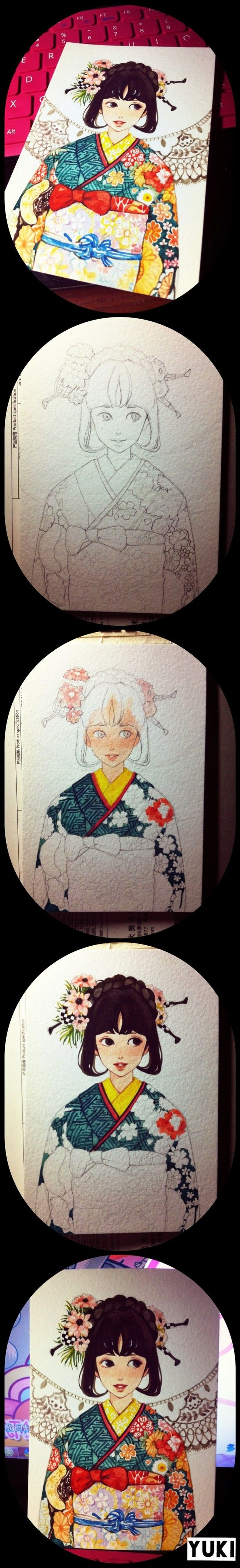 yukiyin@szeki采集到水彩(123图)_花瓣插画/漫画