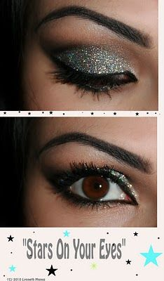 """STARS ON YOUR EYES"" Make-up Tutorial: Make Up, Eye Makeup, Eye Shadows, Stars, Beautiful, Glittery Eye, Eye Tutorials, New Years, Glitter Eyeshadows"