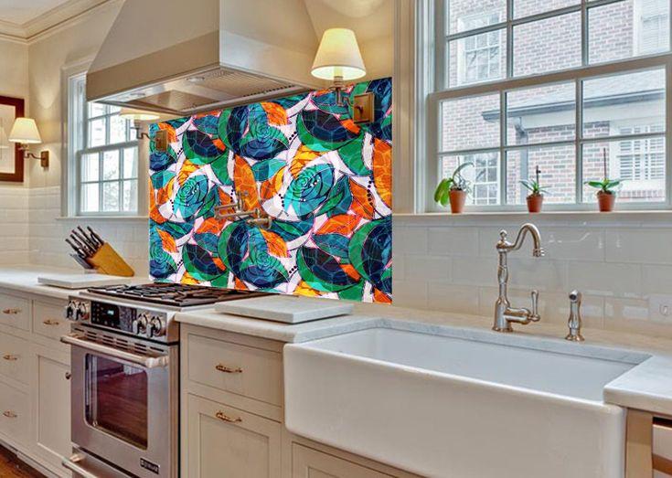 Abstract art print diy kitchen backsplash kitchen sink