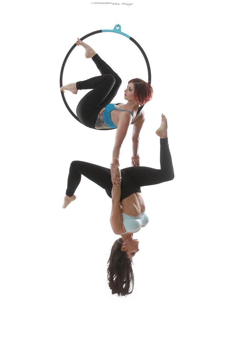 Doubles aerial hoop (lyra) pose