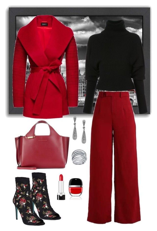 """""""Red Coat!⚘"""" by parnett ❤ liked on Polyvore featuring Americanflat, Sentaler, Creatures of the Wind, Betsey Johnson, Victoria Beckham, Bavna, Lafonn and Marc Jacobs"""