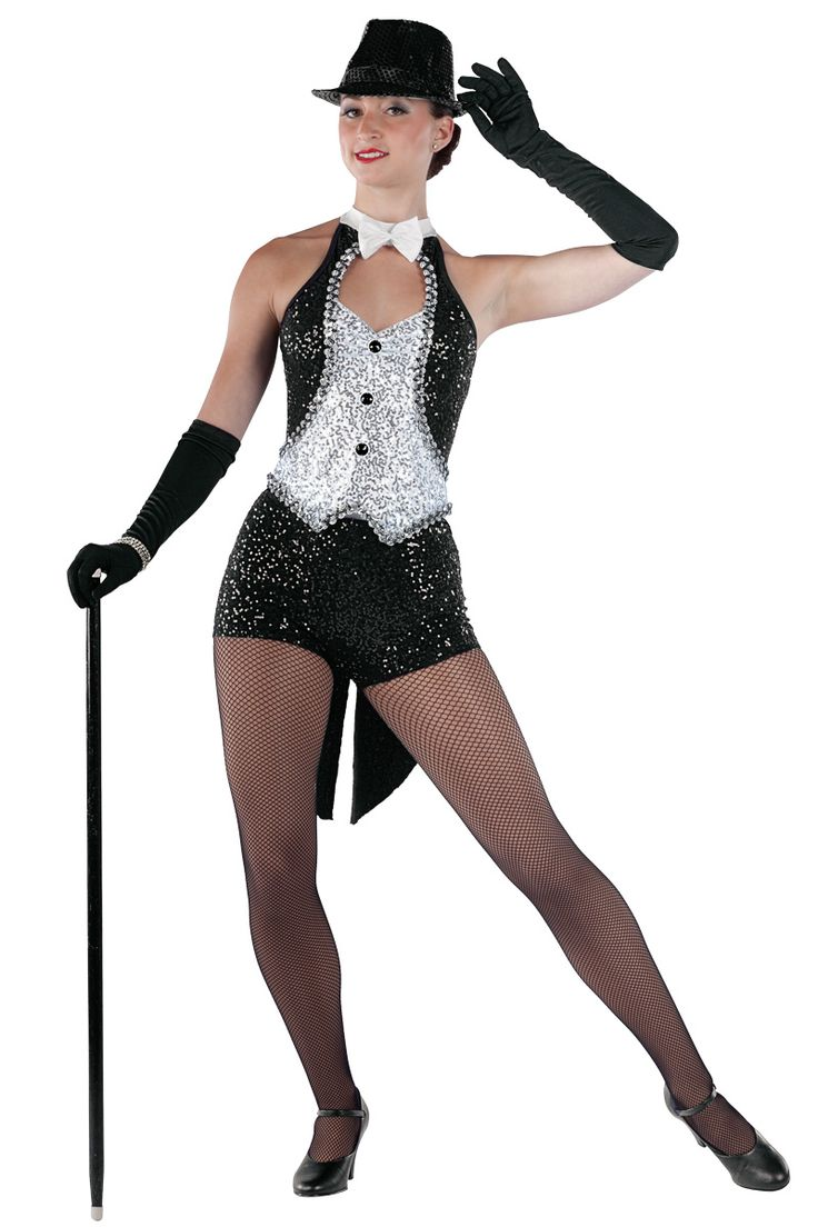 15317 Show Business | Tap Jazz Funk Dance Costumes | Dansco 2015 | Black and white spandex halter leotard with silver sequin on white spandex overlay and black sequin on spandex insert. Separate matching shorts with attached tails. Bow on pin, silver sequin braid and jewel applique trim. Headpiece included.