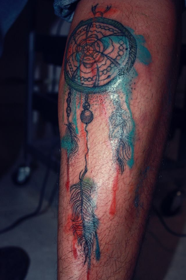 Dreamcatcher watercolor tattoo leg tatted up pinterest for Watercolor dreamcatcher tattoo