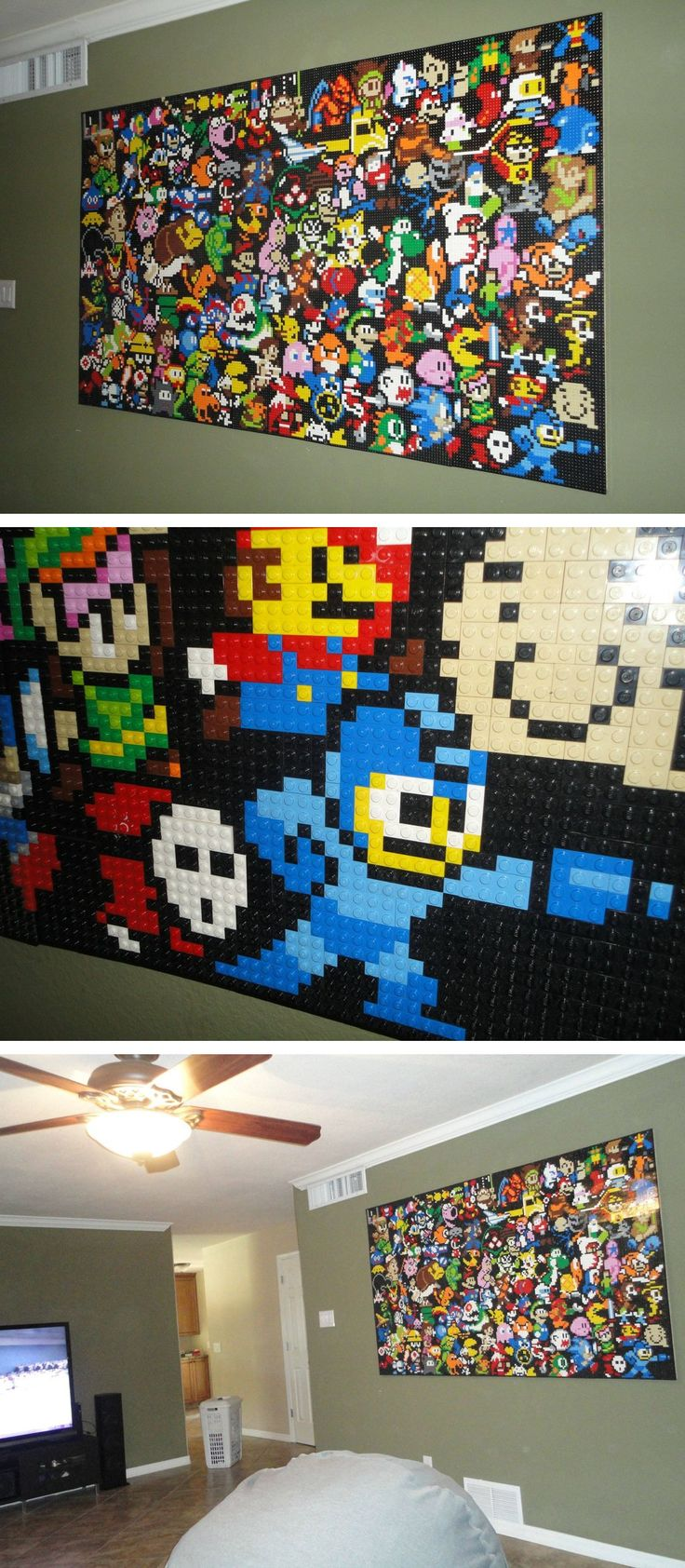 Room LEGO mosaic <- I need a secret Geek Cave in my house because I need this!!!! :-)                                                                                                                                                                                 Mais