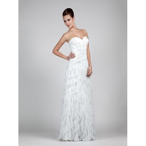 Strapless long wedding dress with flairs on the skirt