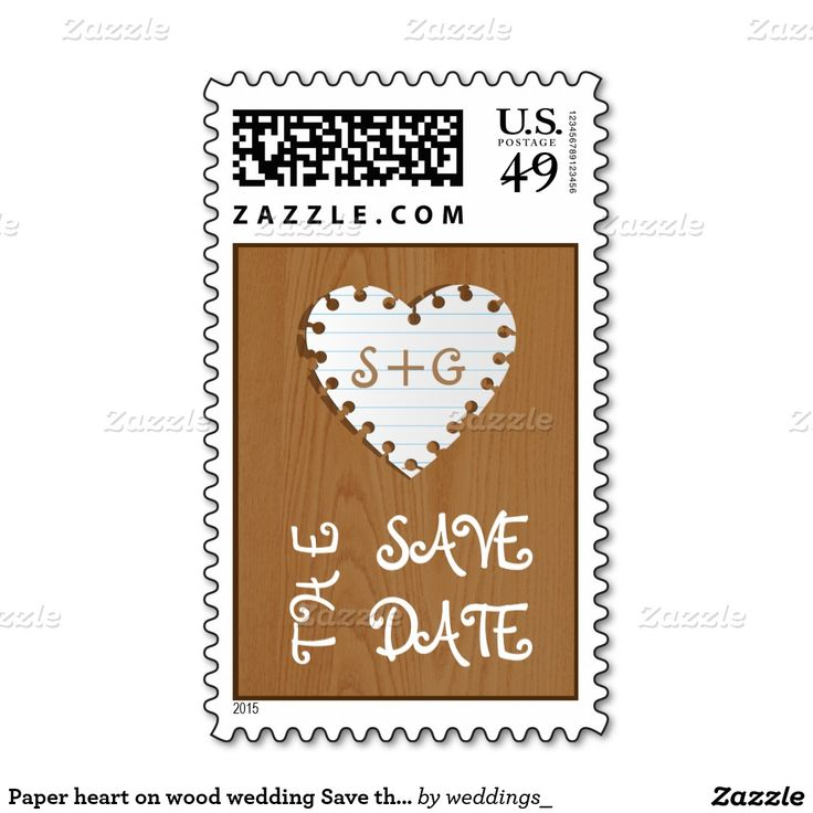 Paper heart on wood wedding Save the Date Stamps