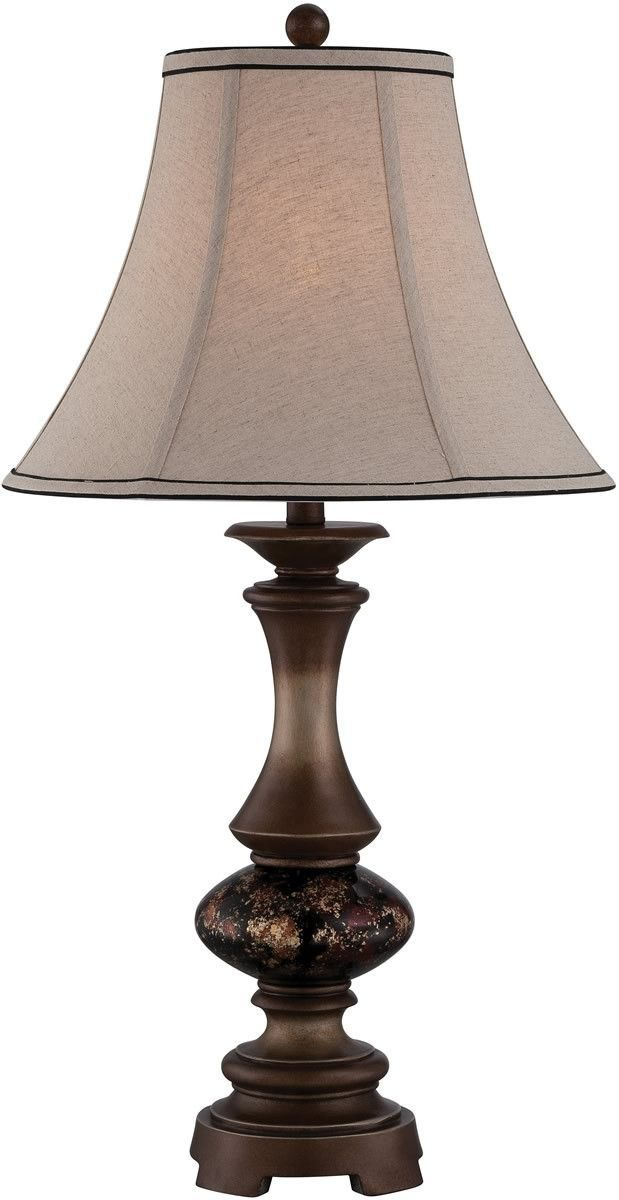 This gorgeous classic table lamp showcases a dark bronze finished body that interacts with a multi-colored glass decoration at its core. Detailed with a matching two tone fabric shade, this classic ta