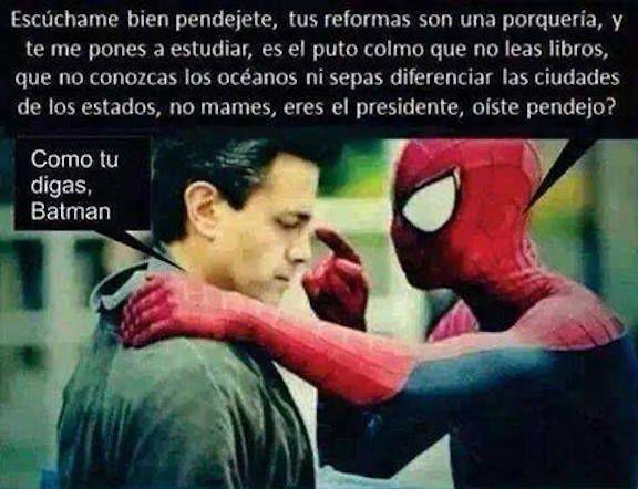Nos mandaron este meme de cuando EPN vio a Spiderman