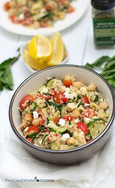 This quick and easy Mediterranean Quinoa Salad is packed with veggies and is ready in under 10 minutes. Make extra, this dish is just as good the next day for lunch! Gluten free, low fat, vegan option. | www.pancakewarriors.com