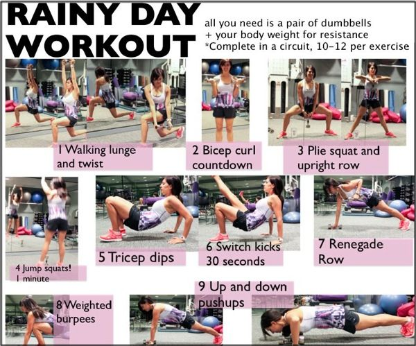 Rainy Day Circuit (go through entire circuit three times, add 20 minutes HIIT at the end or sub 4-minute tabata for the jump squats within the circuit)