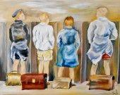 Tableau de quatre jeunes garçons dans des latrines d'antan : Peintures par peintures-axelle-bosler