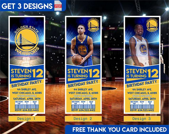 Golden State Warriors Invitation, Steph Curry Invitation and Kevin Durant Birthday Invitation # Attention, this is Digital File only. No Physical item will be sent to you. After purchasing, please provide the following information in the NOTES TO SELLER: # Name # Age # Date # Time