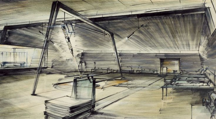 Ken Adam's concept drawing for Goldfinger's laser room