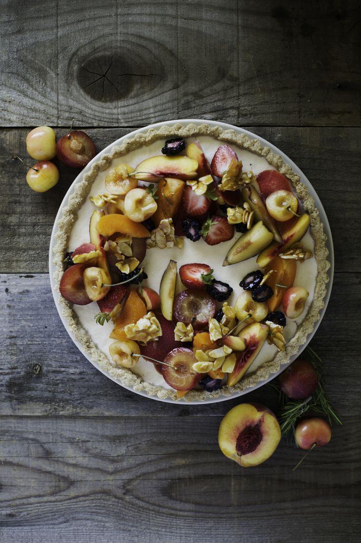 Rosemary & Stone Fruit Panna Cotta Tart