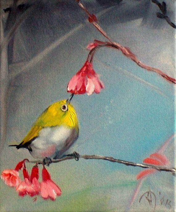 Tiny bird painting Oil Bird painting on canvas by ARTbyRumbetix