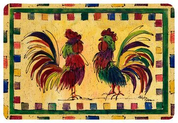 Bird - Rooster Kitchen Or Bath Mat 24X36 - farmhouse - Bath Mats - the-store
