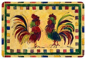 Bird - Rooster Kitchen Or Bath Mat 24X36 - farmhouse - Bath Mats - the-store