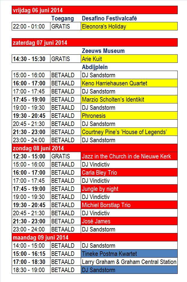 Line up Jazzfestival Middelburg