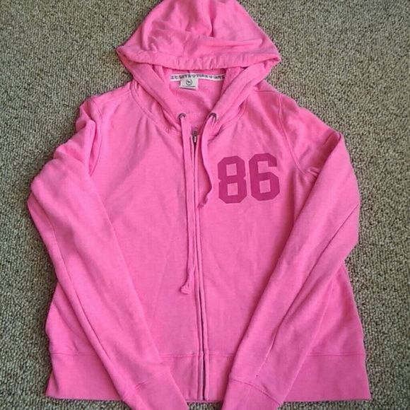 PINK zip up hoodie Excellent used condition. No holes. No stains. No pilling. Fits like a comfortable small/tight medium.  Single item offers thru offer tab ONLY/bundles receive 15% off ONLY using bundle feature ❌No trades ❌No other sites ❌No pay pal (60) PINK Victoria's Secret Tops Sweatshirts & Hoodies