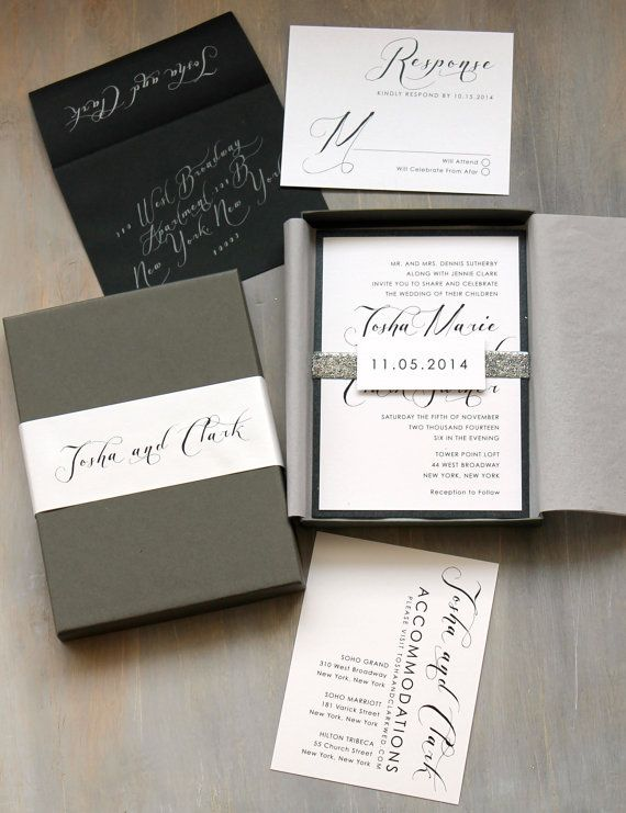 Black Script - Modern Wedding Invitation, Glitter Wedding Invitations, Calligraphy, Black and White Wedding {NEW} - Purchase for a Sample
