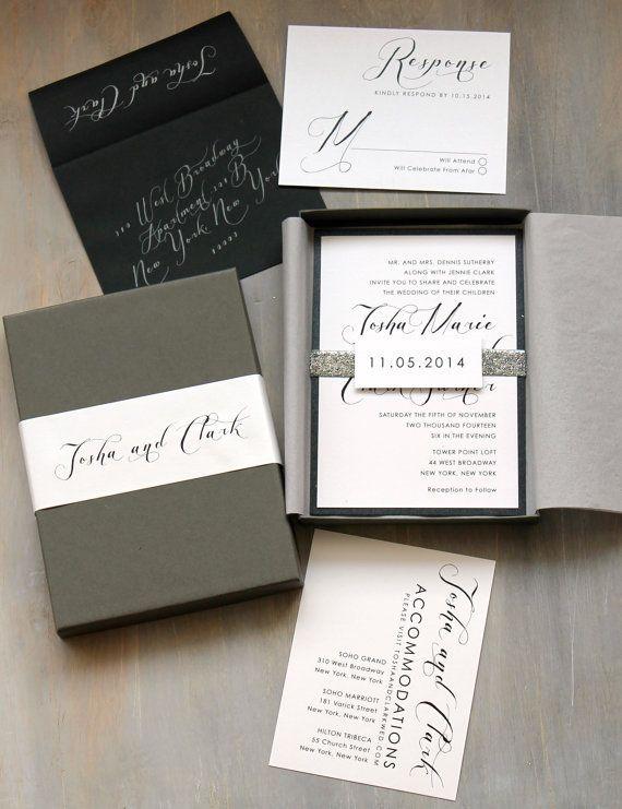 Glitter Silver Wedding Invitations Luxury Metallic by BeaconLane