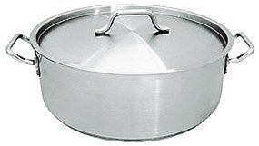 20 QT STAINLESS STEEL COMMERCIAL BRAZIER POT W/ LID - NSF by overstockedkitchen. $106.55. Capacity: 20 qt. (19 lt.). Inside Depth: 6 in. (15.25 cm). Top Diameter: 15-3/4 in. (40 cm). Thickness: 1.2 mm. Our braziers are constructed of 18/8 stainless steel. Each brazier comes complete with cover and helper handles. NSF listed. What does NSF listed mean? NSF listed means that this item and the manufacturing facility it came from was tested and approved by the independent te...