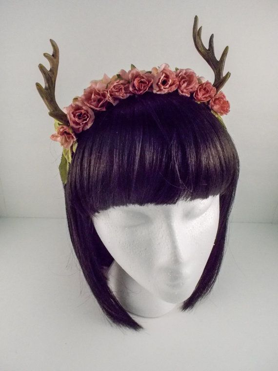 Forest Fawn Deer Antler Flower Crown Accessory by sweetmildred