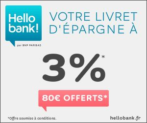 Hello bank! : rémunération de 2% sans limite de plafond + 80 euros offerts à l'ouverture du livret