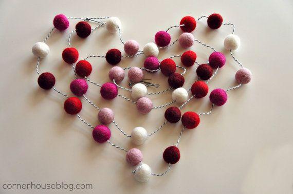 Be My Valentine felt ball garland kit by CornerHouseShoppe on Etsy, $13.00