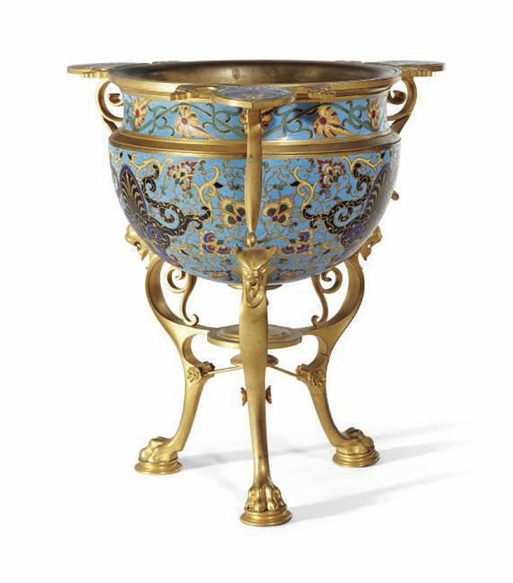 A LATE 19TH CENTURY ORMOLU, COPPER AND ENAMEL CENSER, ATTRIBUTED TO MAISON F. BARBEDIENNE.
