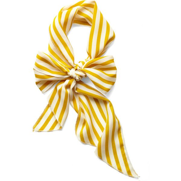 Bow to Stern Scarf in Mustard Stripes ($7.99) ❤ liked on Polyvore